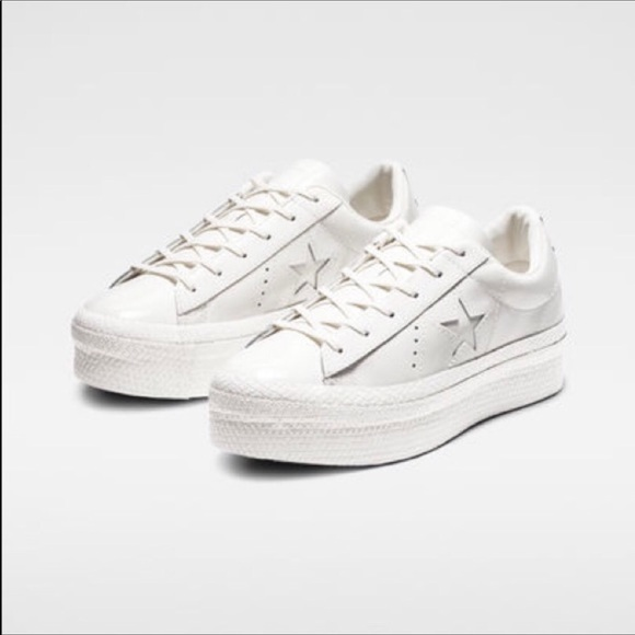 converse white leather platform sneakers